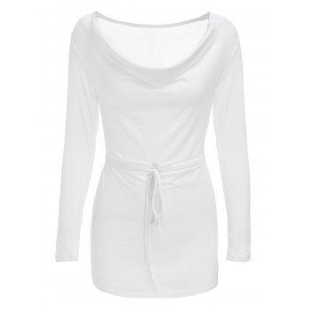 Sexy Cowl Neck Long Sleeve Sheathy Asymmetrical Women's White Dress