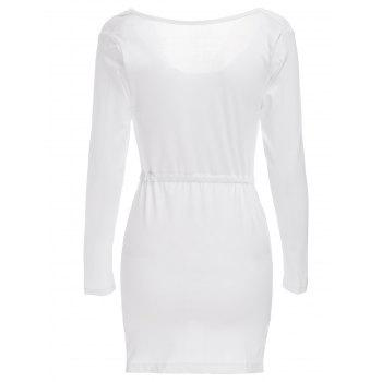Sexy Cowl Neck Long Sleeve Sheathy Asymmetrical Women's White Dress - WHITE XL