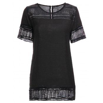 Stylish Women's Short Sleeve Round Neck Hollow Out T-Shirt