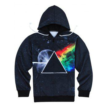 Slimming Fashion Hooded 3D Universe Print Long Sleeve Men's Cotton Blend Hoodie