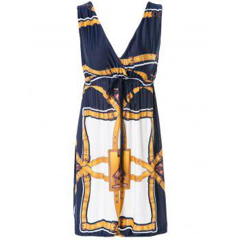 Sexy Printed V-Neck Sleeveless Dress For Women - ONE SIZE ONE SIZE