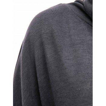 Stylish Cowl Necked Buttocks Tight Long Blouse -  DEEP GREY