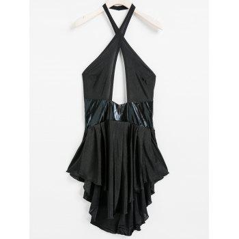 Sexy Halter Neck Sleeveless Hollow Out Spliced Backless Women's Dress - BLACK S