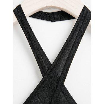 Sexy Halter Neck Sleeveless Hollow Out Spliced Backless Women's Dress - M M