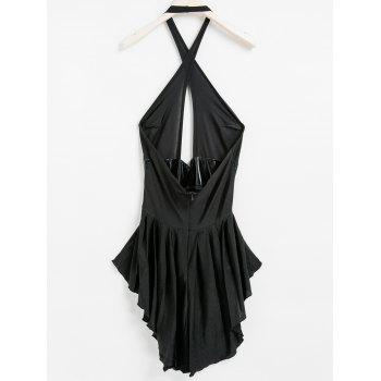 Sexy Halter Neck Sleeveless Hollow Out Spliced Backless Women's Dress - BLACK BLACK