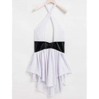 Sexy Halter Neck Sleeveless Hollow Out Spliced Backless Women's Dress - WHITE XL