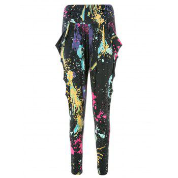 Cool and Refreshing Style Colorful Ink-Panting Harem Pants - AS THE PICTURE AS THE PICTURE