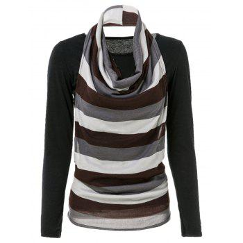 Turtleneck Stripe Kniting Vest With T-Shirt - BLACK ONE SIZE