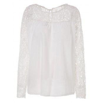 Stylish Jewel Neck Lace Splicing 3/4 Sleeve Chiffon Blouse For Women
