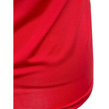Elegant Scoop Neck Short Sleeve Hollow Out T-Shirt For Women - RED RED