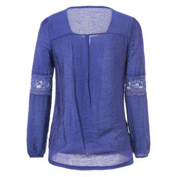 Lace Splicing Solid Color V-Neck Puff Sleeve Ladylike Blouse - DEEP BLUE DEEP BLUE