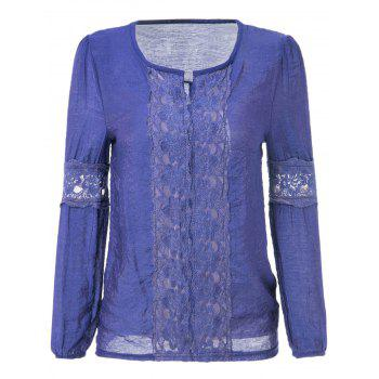 Lace Splicing Solid Color V-Neck Puff Sleeve Ladylike Blouse