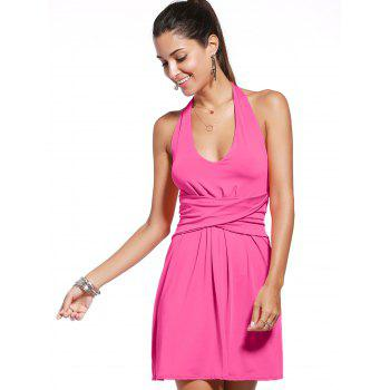 Stylish Sleeveless Backless Solid Color Twist-Front Women's Dress