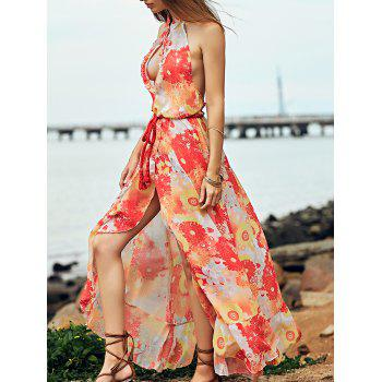 Bohemian Style Women's Halter Hollow Out Openback Flounce Hem Dress