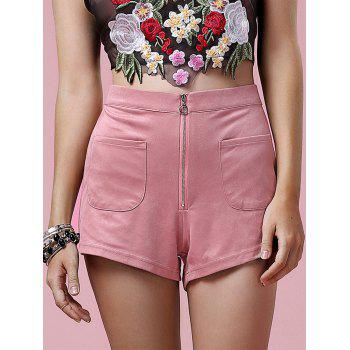 Stylish Women's Zipper Fly Solid Color Pocket Design Shorts