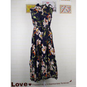 Sweet Women's Sleeveless Stand Collar Floral Print Self-Tie Dress