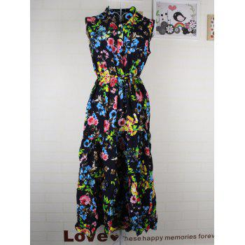 Cute Women's Buttoned Stand-Up Collar Floral Print Belt-Tie Dress