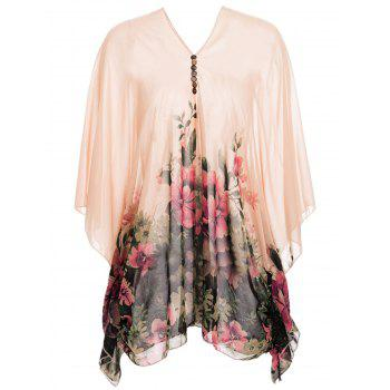 Buttons Design Batwing Sleeve V-Neck Floral Print Pullover Chiffon Maternity Blouse
