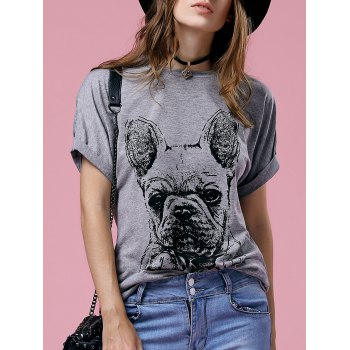 Casual Women's Short Sleeve Round Neck Bulldog Pattern T-Shirt