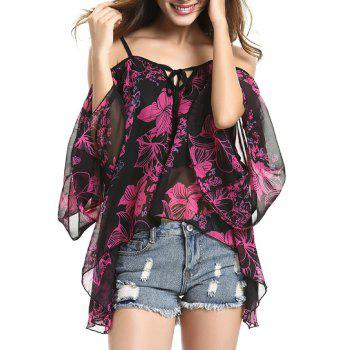 Spaghetti Strap Off Shoulder Bell Sleeve Charming Floral Women's Blouse