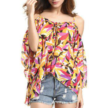 Chic Spaghetti Strap Off Shoulder Bell Sleeve Feather Print Blouse For Women
