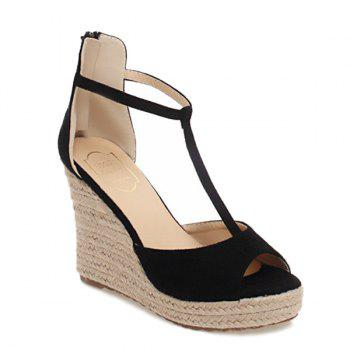 Fashionable T-Strap and Weaving Design Women's Sandals