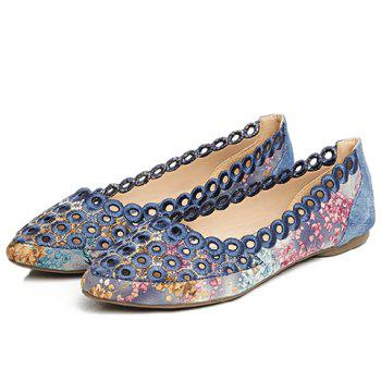 Leisure Hollow Out and Floral Print Design Women's Flat Shoes - 39 39
