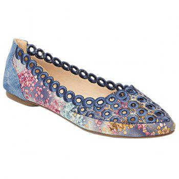 Leisure Hollow Out and Floral Print Design Women's Flat Shoes - BLUE 39