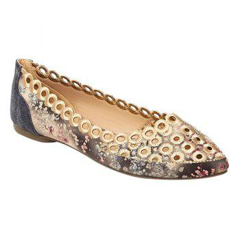 Leisure Hollow Out and Floral Print Design Women's Flat Shoes