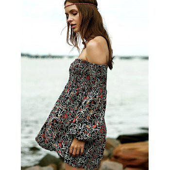 Trendy Women's Off-The-Shoulder Long Sleeve Floral Print Dress - COLORMIX 2XL