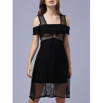 Attractive Women's Cold Shoulder Hollow Out Grid Black Dress - BLACK BLACK