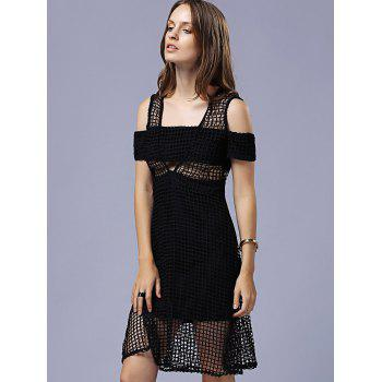 Attractive Women's Cold Shoulder Hollow Out Grid Black Dress - S S