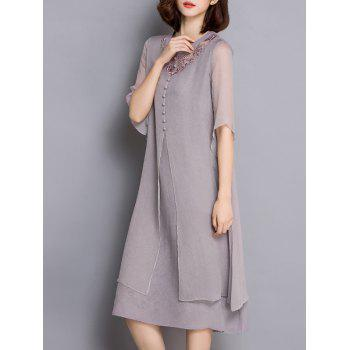 Trendy Round Collar Layered Pure Color Embroidery Women's Dress