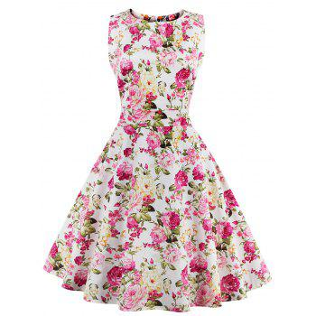 Floral Bowknot Embellished 50s Swing Dress
