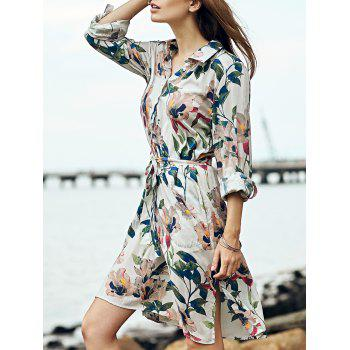 Retro Polo Collar Tie Front Long Sleeve Floral Print Dress For Women
