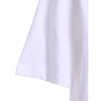 Fashionable Jewel Neck Denim Spliced Short Sleeve Dress For Women - WHITE ONE SIZE(FIT SIZE XS TO M)