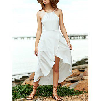 Simple Women's Spaghetti Straps Tulip Hem High Low Dress