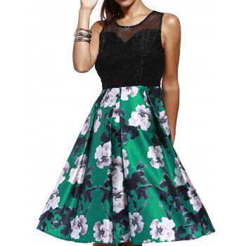 Fashionable Sleeveless Mesh Flare  Cut Out Dress For Women