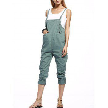 Front Slit Pockets Drop Crotch Fashionable Women's Overalls