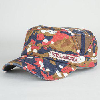 Fashion Letters Applique Camouflage Pattern Cool Summer Military Hat