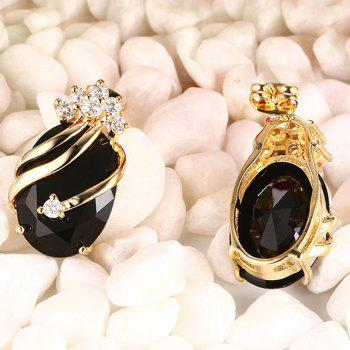 A Suit of Noble Oval Faux Gem Zircon Pendant and Earrings For Women - BLACK