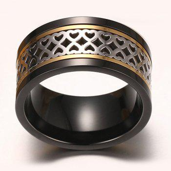 Cut Out Heart Turnable Ring - BLACK