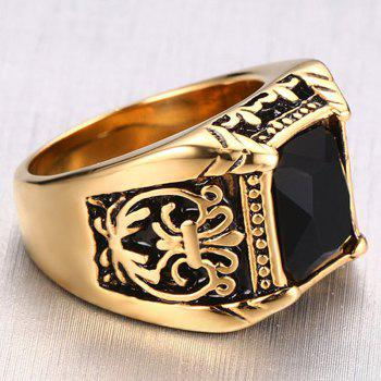 Characteristic Faux Black Rhinestone Resin Carved Alloy Ring For Men - BLACK