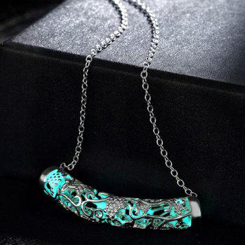 Noctilucent Cut Out Bar Necklace - CYAN