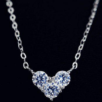 Heart Rhinestone Embellished Necklace