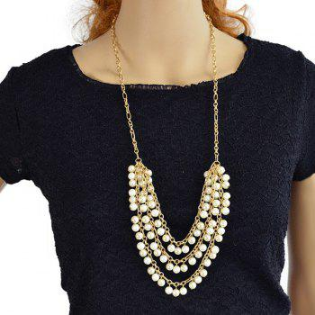 Layered Faux Pearl Tassel Pendant Necklace