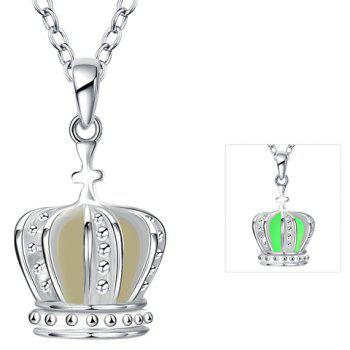 Silver Plated Crown Noctilucent Necklace - NEON GREEN