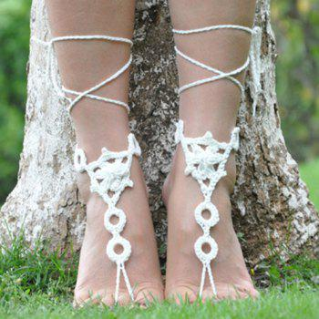 Pair of Gorgeous Floral Round Woven Girl Sandal Anklets - WHITE WHITE