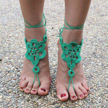 Pair of Gorgeous Solid Color Floral Woven Sandal Toe Ring Anklet -  GREEN
