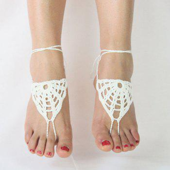 Pair of Gorgeous Hollow Out Woven Sandal Anklets For Women